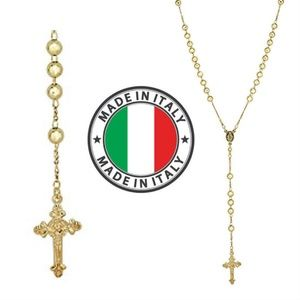 Harlembling 14k Gold Silver Rosary Beads Necklace